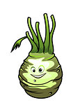 Healthy fresh cartoon kohlrabi vegetable