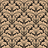Seamless pattern of beige floral arabesque motifs