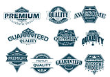 Labels set denoting Premium Quality