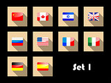 international country flags on flat icons