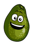 Happy ripe green cartoon avocado pear