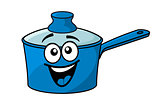 Laughing happy blue cartoon cooking saucepan