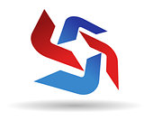 Abstract symbol of red and blue boomerang shapes