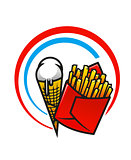 Fast foods icon with crispy French fries and ice cream