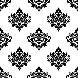 Black and white repeat floral arabesque pattern