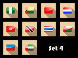 Flat icons set of international flags