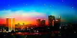 abstract nature background with city and red sunrise