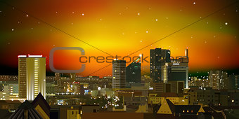 abstract nature background with city and red sunset