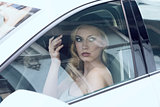 glamour woman in a car