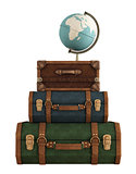Vintage travel bags on white