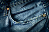 Detail of blue jeans pocket in vintage style