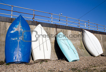Blue and white boats at Southend-on-Sea, Essex, England