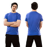 Man wearing blank blue shirt