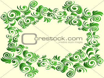 Floral elements in green hues over light yellow