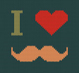 I Love Mustache Knitted Vector Illustration. Background, Pattern