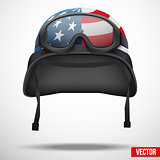 Background of black police helmet and goggles.
