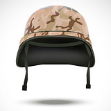 Military helmet with camouflage patterns. Vector illustration