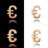 Three dimensional wooden euro symbol. Isolated on white and blac