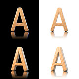 Three dimensional wooden letter A. Isolated on white and black.