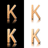 Three dimensional wooden letter K. Isolated on white and black.