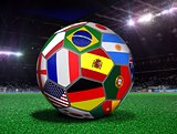 Soccer Ball with Team Flags in a Stadium