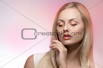 beauty girl with multicolor make-up