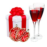 Beautiful gift in white packaging, two wineglass and red christm
