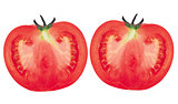 Two halves of red fresh tomato isolated on white