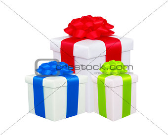 beautiful gift boxes with colorful bows isolated on white