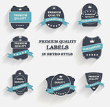 Vector Premium Quality Label Set in Retro Style