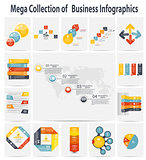 Mega collection infographic template business concept vector ill