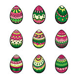 Set of nine colorful easter eggs
