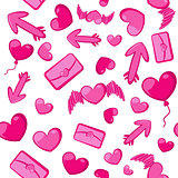 Seamless background of pink hearts and arrows