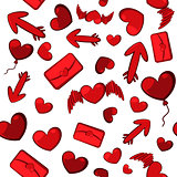 Seamless background of red hearts, arrows and letters