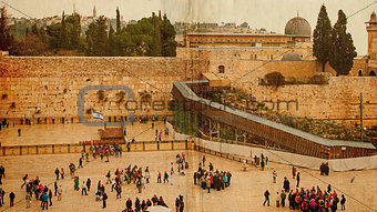 Western Wall,Temple Mount, Jerusalem.Photo in old color image style.