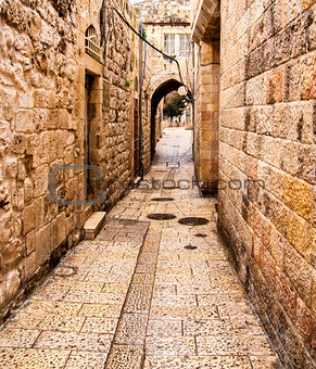 Ancient Alley in Jewish Quarter, Jerusalem