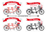wedding tandem bicycles, vector set
