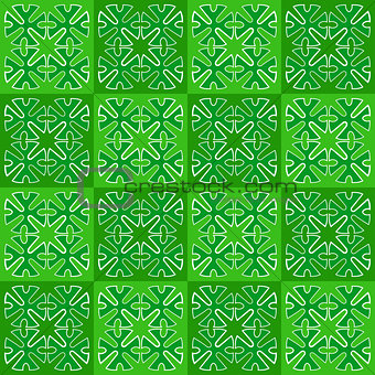 Green squares with ornament. seamless