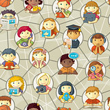 Seamless Pattern - Cute Personages In Social Network