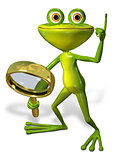green frog with magnifying