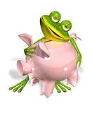 green frog with piggy bank