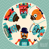 Hipster Retro Robots Card Illustration, Banner, Background