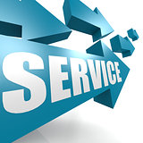 Service arrow in blue