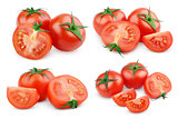 Set of sliced red tomato vegetables on white
