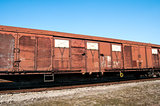 Obsolete wooden railway wagon