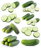 Set of sliced cucumbers on white
