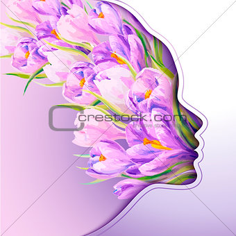 Beautiful young woman with flowers in hair