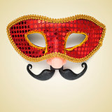 carnival mask with fake nose and moustache