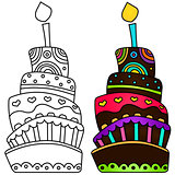 Vector illustration of birthday cake