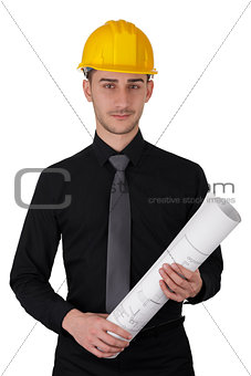 Man with Hard Hat Holding Rolled Up Blueprints